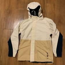 Burton Universe Snowboard Hooded Jacket Beige Tan Navy Blue Ski Coat Small EUC