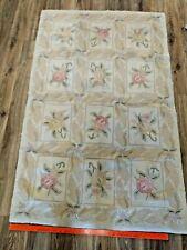 "Vintage Handmade Estate Hooked Rug 3' 4"" x 4' 6"" Sarah Shaw Rectangle Cotton"