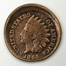 1864 Cn Indian 1c 10% off-center corroded cleaned