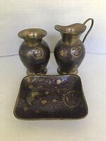 Brass Vintage Enamel set of 3 Pitcher Vase plate moon stars constelation decor