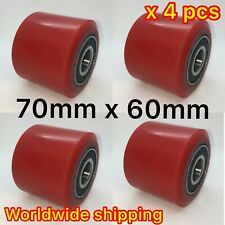 4pcs of PU 70x60 Pallet Truck Load Roller Wheel With Bearings