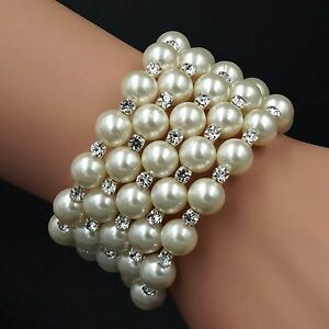 Gorgeous White Glass pearl Clear Crystal Wedding Bangle Cuff Bracelet 154 5 Rows