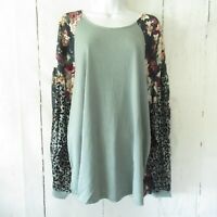 New Umgee Top 2X Dusty Mint Animal Floral Puff Sleeve Boho Peasant Plus Size