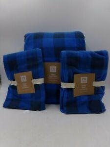 Pottery Barn Fleece Duvet Queen w/ 2 Stnd Shams Buffalo Check Plaid Blue #9857
