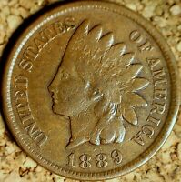 1889 Indian Head Cent - ATTRACTIVE VF+, PROBLEM-FREE REPUNCHED DATE  (K229)