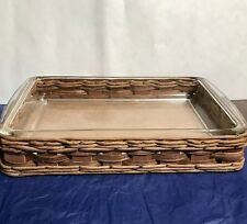 Vintage Pyrex Clear Lasagna Casserole Glass Baking Dish 233 Wicker Wood Carrier