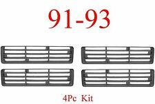 91 93 Dodge 4Pc Grill Inserts, Ram Truck, Left Right Upper Lower, All 4 Included