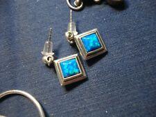 Silver Fire Opal Earrings Grandmas Estate 925 Sterling