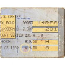Jerry Garcia & Bob Weir Concert Ticket Stub Hartford Ct 9/5/89 Grateful Dead