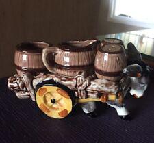 Vintage Donkey Cart Creamer Sugar w/ Salt & Pepper Shakers (Ceramic)