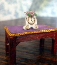 VINTAGE JA Artist Signed Tiny MANTLE CLOCK 1/24 Dollhouse Miniature