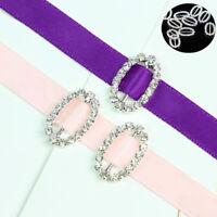 Chic 10 Pcs Oval Crystal Wedding Rhinestone Buckle Slider for Invitation Ribbon