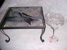 """FLAMINGO Pink Glass Serving Tray  Stand Cheese Dip Knife Lot NEW 10"""""""