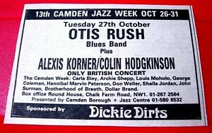 "Otis Rush/Alexis Korner Camden Gig Vintage ORIG 1981 Press/Mag ADVERT 3.5""x 2.5"""