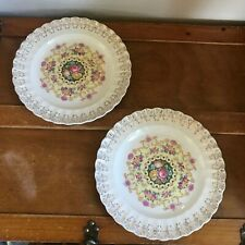 Vintage Lot of 2 American Homes Limoges w Pink & Yellow Cabbage Roses & Gilt Sca