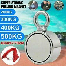 100kg~600kg Double Sided Large Powerful Neodymium Magnet Fishing & 10m Rope Set