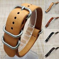 Mens Genuine Leather Military Buckle Watch Strap Band 18mm/20mm/22mm Replacement