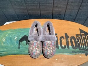 """DOG PRINT """"SNUGGLE ROVERS"""" COMFY SLIP-ON SLIPPERS by BOBS FROM SKETCHERS, SZ 8"""