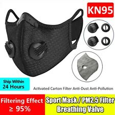Reusable Sport Face Mask W/Valve & 10PCS 3/4/5 Layer Activated Carbon Filter Pad