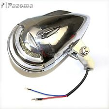Old School Motorcycle Aluminum Polish Head Light Bullet Head Lamp High Low Beam