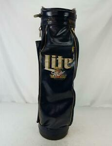 Vintage Burton Faux Leather Miller Lite Golf Club Bag Beer Advertising Blue