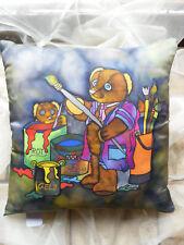 Kissenhülle mit Teddy-Motiv - Seidenmalerei,40x40 cm