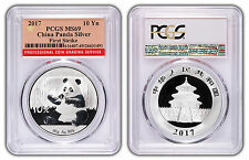 2017 10 Yuan Silver China Panda PCGS MS69 First Strike Red Flag Label LOT X  3