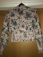 Topshop Floral Detail Pink High Neck Long Sleeve Top Size 8