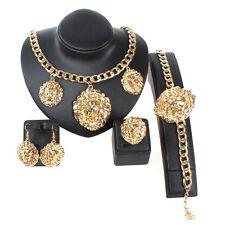 Vintage Lion Head Greek Myth Medusa Pendant Earrings Necklace Bangles Ring Sets