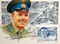 1984 Postcard vintage Russian Astronaut Gagarin Space First Day Stamp