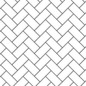 Dolls House White Herringbone Metro Tiles Dark Grout Gloss Card Flooring 1:12