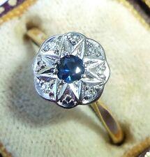 Antique Art Deco 18ct Gold, Platinum, Sapphire & Diamond Star Ring, Size O