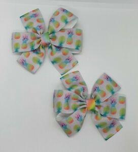 2x Girls Pinwheel Hair Bow Clips Accessories Pineapple Rainbow Summer Fruits