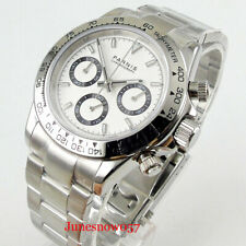 39mm PARNIS Quartz Men's Watch Full Chronograph White Dial Sapphire Glass