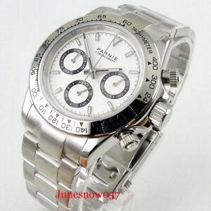 39mm PARNIS Quartz Men's Watch Full Chronograph White Dial Sapphire Glass