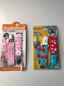 Nuby Pacifinder Pacifier Clip 2-Pack and BooginHead Pacigrip 2-Pack Brand New!