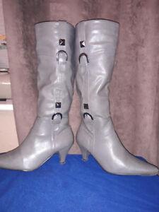 Debenhams Grey knee length Womens boots Size UK 3