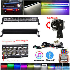 """22"""" LED LIGHT BAR COMBO RGB Halo Color Changing Chasing Strobe Bluetooth Control"""