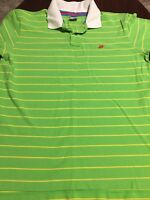 Vintage Nike Lime Green Striped Rugby Mens Short Sleeve Polo Shirt Extra Large