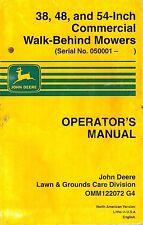 JOHN DEERE 38 48 54-INCH COMMERCIAL WALK BEHIND MOWERS OPERATOR'S  MANUAL jd