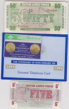 19 Fuerzas Armadas nuevo, sin usar billetes + una tarjeta de teléfono Eduardo VIII Centenario