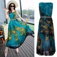 ZANZEA Women Sleeveless A-Line Sundress Printed Bohemian Vintage Long Maxi Dress