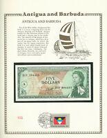 East Caribbean 5 Dollar 1965 P 14i UNC Prefix D13 w/ FLAG STAMP Antigua Tip Ding