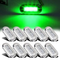 10x Green LED Marine Boat Yacht Stainless Steel Oblong Courtesy Light Stair Deck