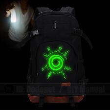 backpack Luminous NARUTO Cowhide Bag Unisex Computer Student school bags