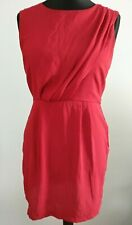 Topshop Bright Red Dress Grecian With Pleat Detail Size 12 Exposed Back Zip
