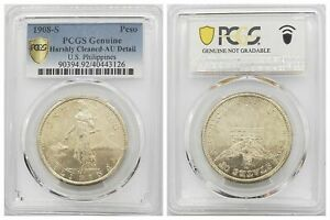 PCGS US Philippines 1908 S Peso Silver Coin Nice Lustre AU
