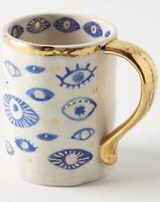 NEW ANTHROPOLOGIE COFFEE TEA MUG LATTE CUP RITUAL HAMSA EVIL EYE HAND EXOTIC