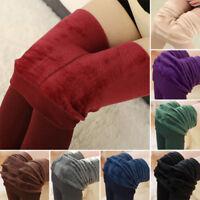 Women Winter Thermal Warm Fleece lined Skinny Slim Leggings Stretch Pants vv