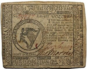 Continental Currency 1776 Eight Dollars Note Hall And Sellers CC-30
